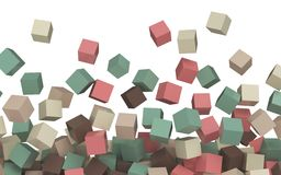 Pink, beige, brown turquoise green colored simple 3D cubes on white. Flying / falling blocks, abstract rendered composition Stock Photos