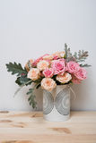 Pink and beige roses Stock Photos