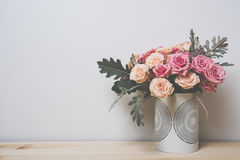 Pink and beige roses Stock Images