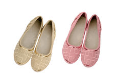 Pink and beige shoes for girls isolated Royalty Free Stock Image