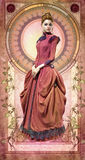 Pink Belle Epoque Gown, 3d CG Royalty Free Stock Photography