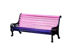 Pink bench isolated on white background stock photos