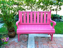 Pink bench in small park Royalty Free Stock Images