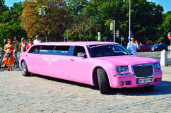 The Pink Bentley Limousine in the centre - Royalty Free Stock Photo