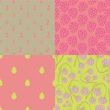 Pink berry seamless patterns Royalty Free Stock Photo