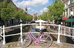 Pink Bicycle in Delft Stock Photo