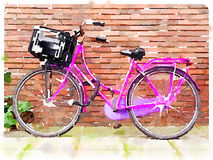 Pink bicycle digital watercolour Royalty Free Stock Images