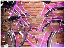 Pink bicycle digital watercolour split in 3 window. Digital watercolour painting of a pink bicycle with a basket on the front in Amsterdam resting against a Stock Photography