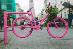 Pink Bicycle Gate in Reykjavik Streets Stock Photos