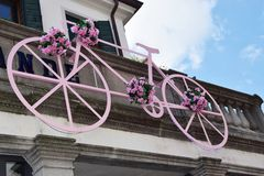 Pink bicycle and Italian tour Royalty Free Stock Image