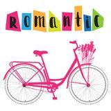 Pink bicycle with lettering, romantic bike with flowers, vector royalty free illustration