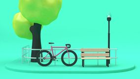 pink bicycle street green tree-parks,going transportation city concept 3d rendering with chair lamp fence royalty free illustration