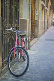 Pink bicycle. Tied on window, at Valencia old town Royalty Free Stock Photography