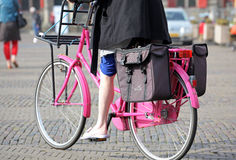 Pink bicycle in town Delft, Netherlands Royalty Free Stock Photography