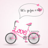 Pink bicycle. Vector illustration. Sport symbol. Text bubble with message and hearts. Love signs and symbols. Valentine's day idea. Template for invitation or Stock Photography