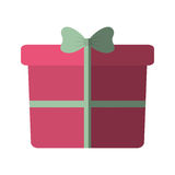Pink big gift box with bow color shadow Stock Photos