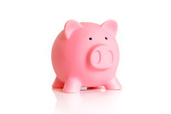Pink biggy money bank isolated on white background.  Royalty Free Stock Image