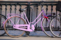 A pink bike in. The city of Amsterdam royalty free stock photography