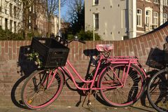 A pink bike in Amsterdam Royalty Free Stock Images