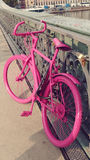 The Pink Bike Concept. Pink Bike outdoors scene close view Stock Image