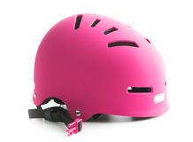 Pink bike helmet. Pink bike helmet isolated on white background stock photo