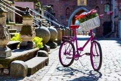 Pink bike on an old street. Pink bike standing on an old street of an old town in Gdansk, Poland Stock Photos