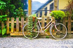 Pink bike parked near old wooden fence.  stock image