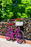 Pink bike standing on the bridge of love Royalty Free Stock Image