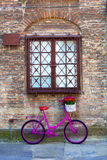 Pink bike standing by the wall Royalty Free Stock Photos