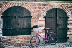Pink bike standing by the wall. Pink bike with white basket full of flowers standing by the brick wall next to old wooden door and window royalty free stock images