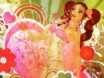 Grunge girl in pink bikini and big heart Stock Images