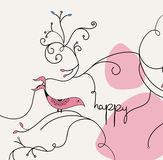 Pink bird card template Stock Photo