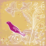 Pink bird and flowers. Cute pink bird on yellow, flowery background Royalty Free Stock Photos