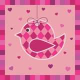 Pink bird greeting card Stock Photography