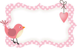 Pink Bird Heart Blank Label Royalty Free Stock Photo