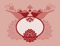 Pink bird and lotus banner Stock Image