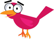 Pink bird - vector clipart. Illustration of cute little pink bird Stock Image