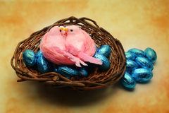 Pink birds Easter composition Royalty Free Stock Image