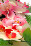 Pink Easter birds with flowers Royalty Free Stock Image