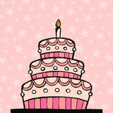 Pink birthday cake. On pink background with stars Royalty Free Stock Photography