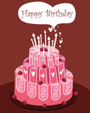 Pink Birthday cake. Three-tier birthday cake decorated in pastel swirls, stripes, polka-dots and flowers for the ultimate birthday celebration with some candles Royalty Free Stock Image