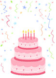 Pink birthday cake. With confetti on white background Stock Photography