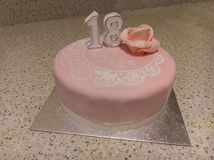 18th Birthday Cake. Pink birthday cake with the number 18 Royalty Free Stock Images