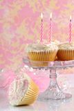 Pink Birthday Cakes. On glass comport with marshmallows around outside of dish Royalty Free Stock Photo