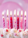 Pink birthday candles Royalty Free Stock Image