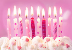 Pink birthday candles Royalty Free Stock Photo
