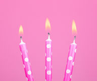 Pink Birthday Candles Royalty Free Stock Photography