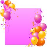 Pink Birthday card. With balloons, hat and plenty of copy space Stock Photos