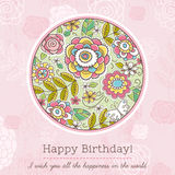 Pink birthday card with big round of spring flowers,  vector Royalty Free Stock Image