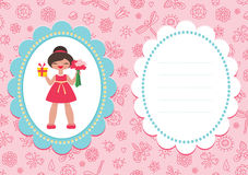 Pink birthday card with cute girl Royalty Free Stock Image